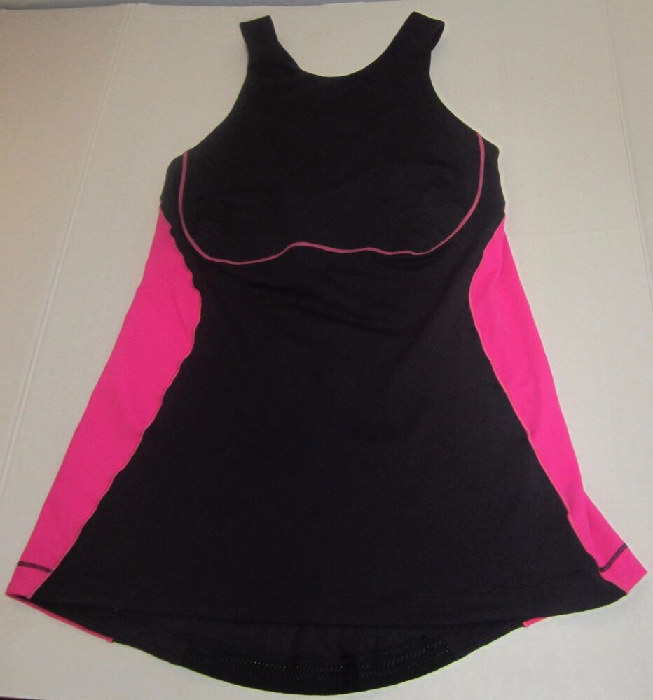 c315f56827 Details about LULULEMON ATHLETICA BLACK BRIGHT PINK SPORTS BRA TANK TOP  WOMENS SIZE 6