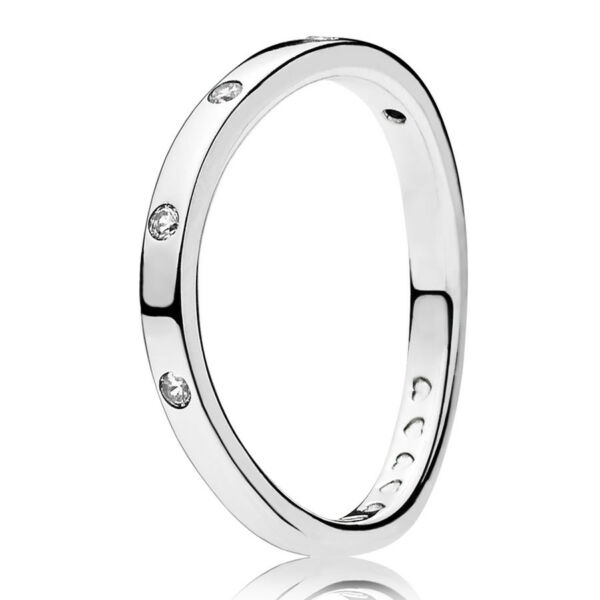 PANDORA Ring 197113 CZ Stackable Curved Silber
