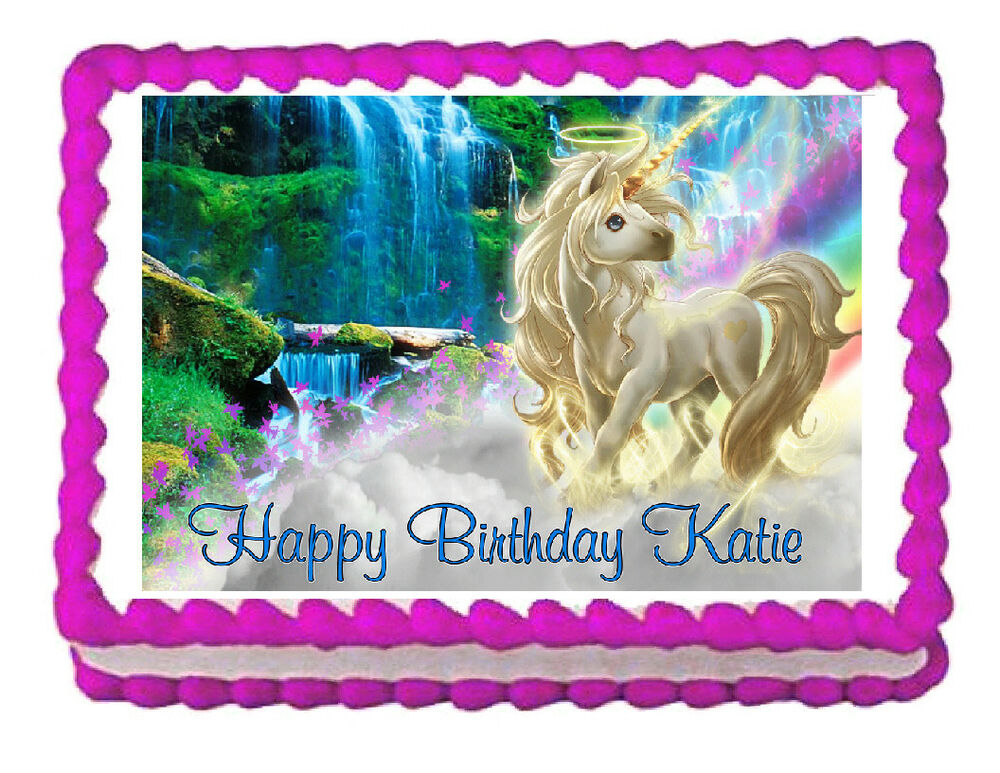 Unicorn party decoration edible cake topper frosting sheet ...
