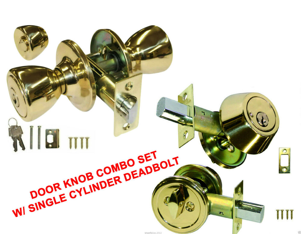 Gold Color Keyed Round Entry Door Knob Lock Combo Set W