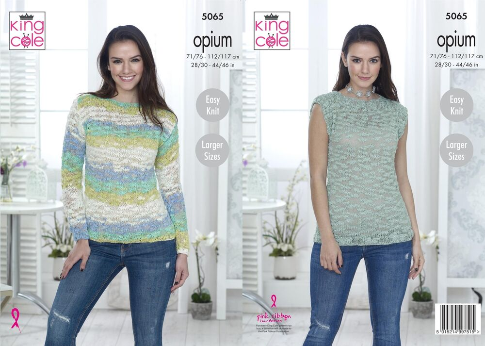 c718c637a King Cole 5065 Knitting Pattern Womens Sweater and Top in Opium   Opium  Palette