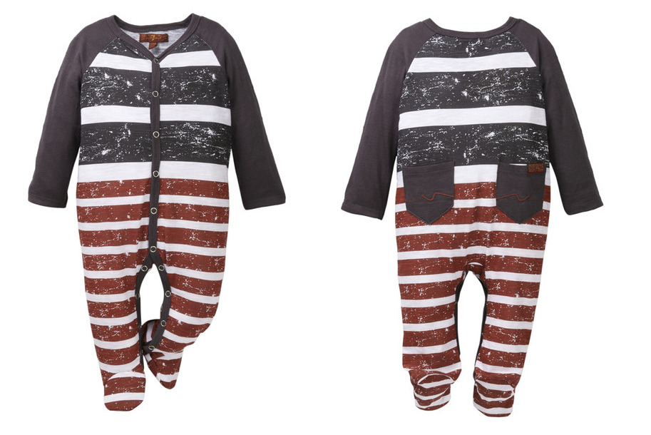 a926b54c7d95 7 For All Mankind Designer Baby Boys Red White Blue Footie One Piece ...