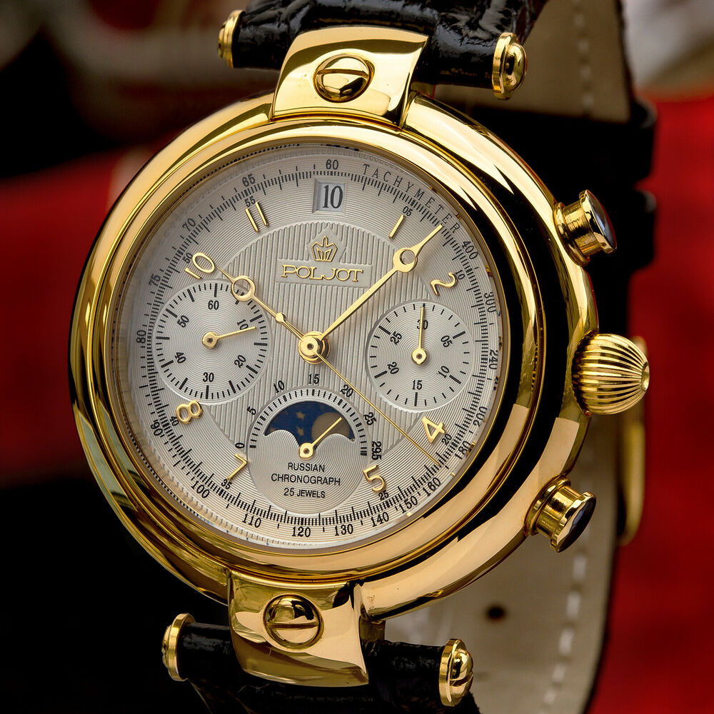 Poljot basilika chronograph 31679 russian analog watch moon phase golden age ebay for Foljot watches