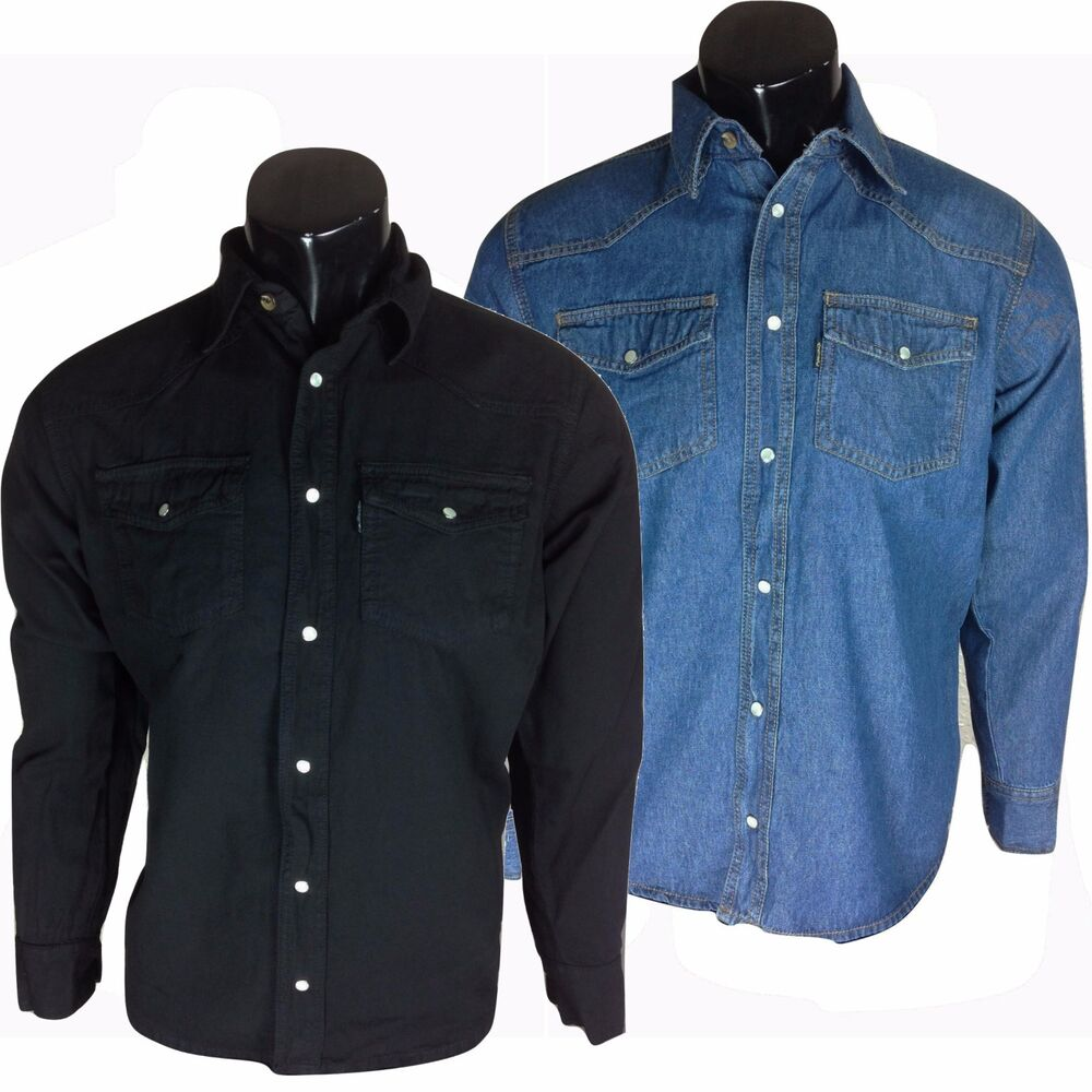 58ca52ca52 Details about Mens Classic Long Sleeved Denim Shirt S-3XL Available in  Black   Blue Stonewash