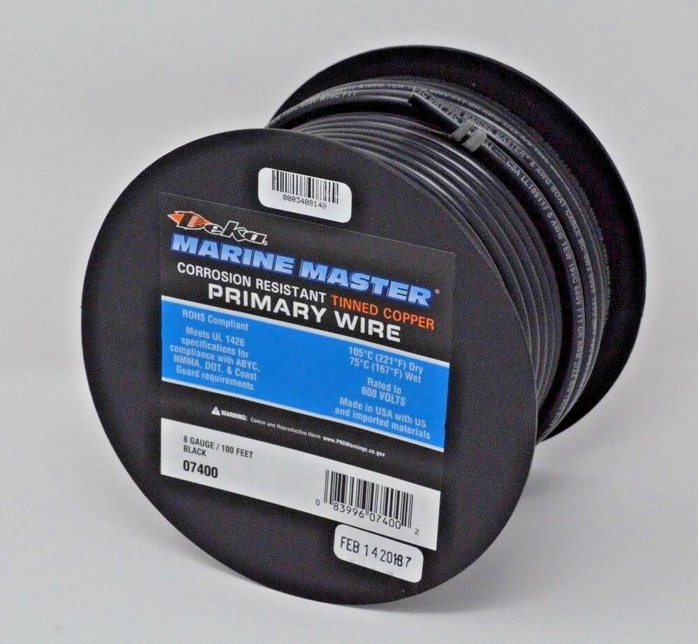 DEKA 8 AWG BLACK Marine Tinned Copper Stranded Wire 100 Feet Spool ...