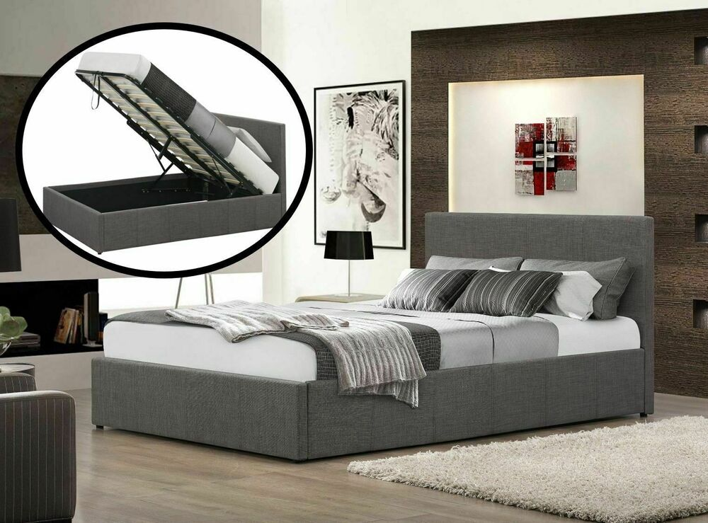 Grey Fabric End Or Side Lift Ottoman Gas Lift Bed 3ft 4ft 4ft6 5ft Built Storage Ebay