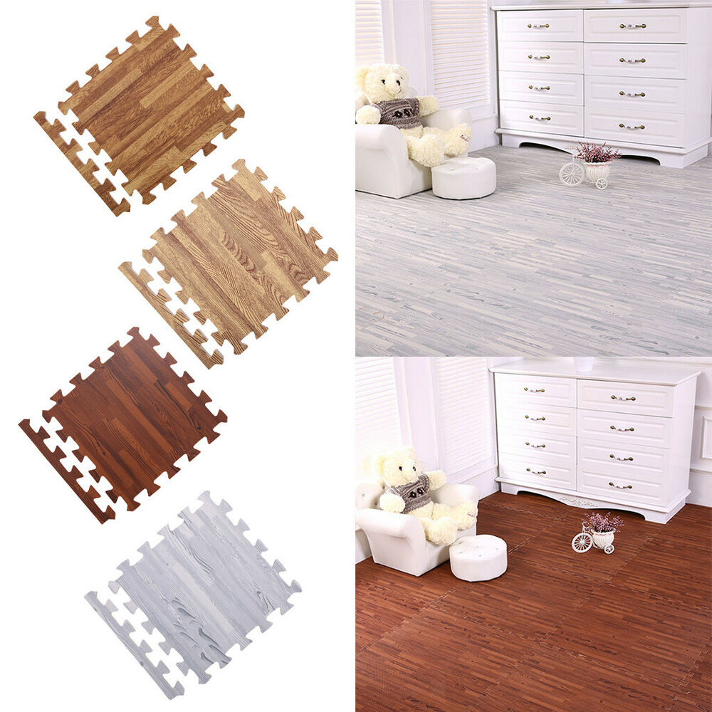 Wood Floor Padding Wood Foam Floor: 10Pcs Wood Grain Effect Interlocking Floor Tiles Mats Foam