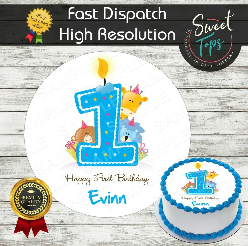Details About 1ST BIRTHDAY BOY ROUND EDIBLE CAKE TOPPER DECORATION PERSONALISED