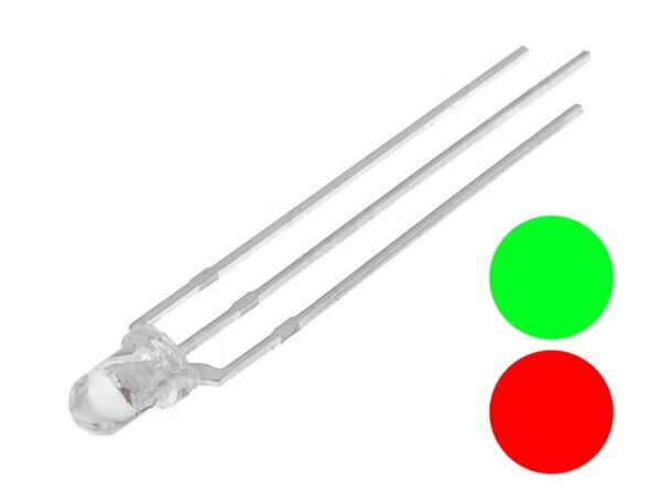 AllemagneS684 - 10 Pièce Duo Leds 3mm  Rouge / Vert Clair 3-pin Commun Anode