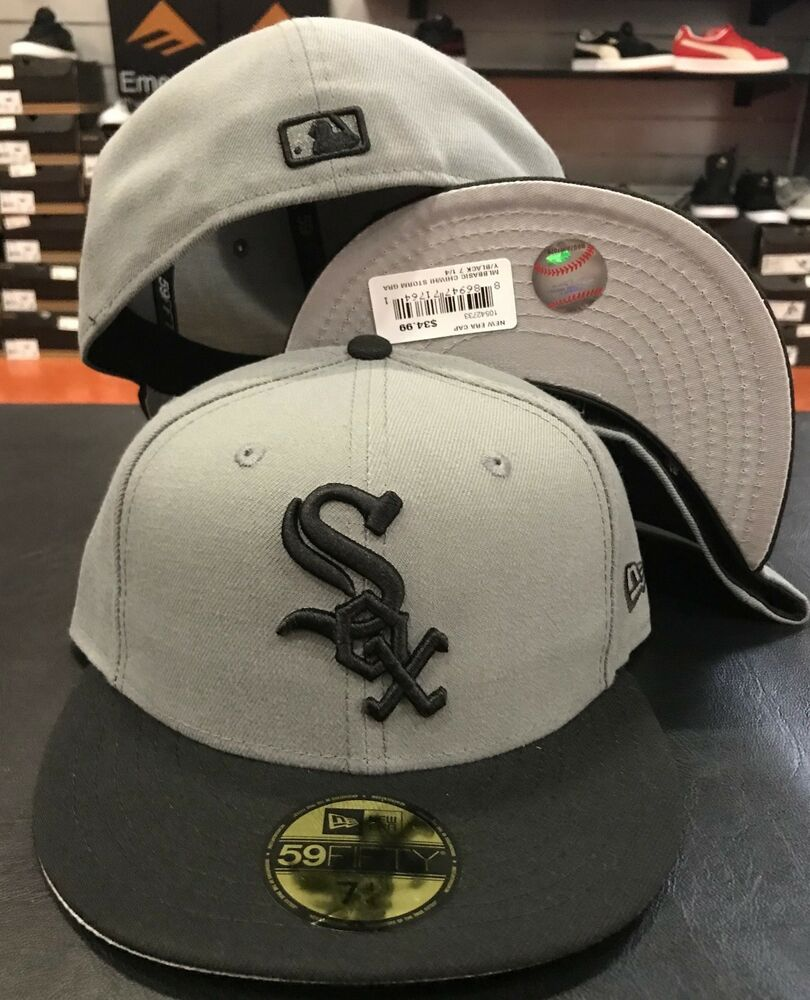 f1cf35b0 Details about New Era Cap 59FIFTY Chicago White Sox storm Gray Black Hat  Fitted 5950 Grey