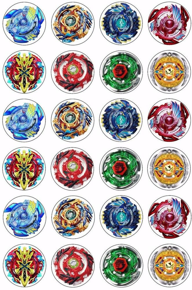 24 x Beyblade Wafer Rice Paper Cupcake Toppers EDIBLE CAKE ...