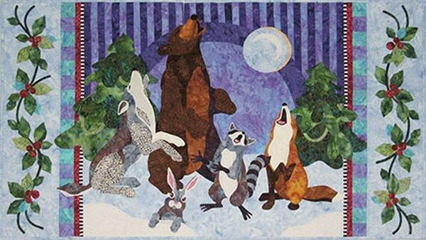 Java house quilts oh howly night bear wolf singing animal applique