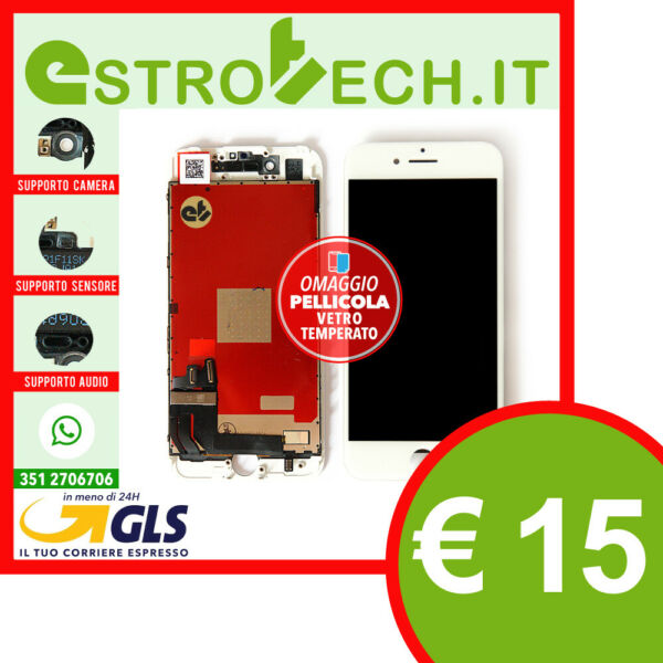 DISPLAY TIANMA LCD SCHERMO PER APPLE IPHONE 7 BIANCO TOUCH RETINA CON FRAM X OEM