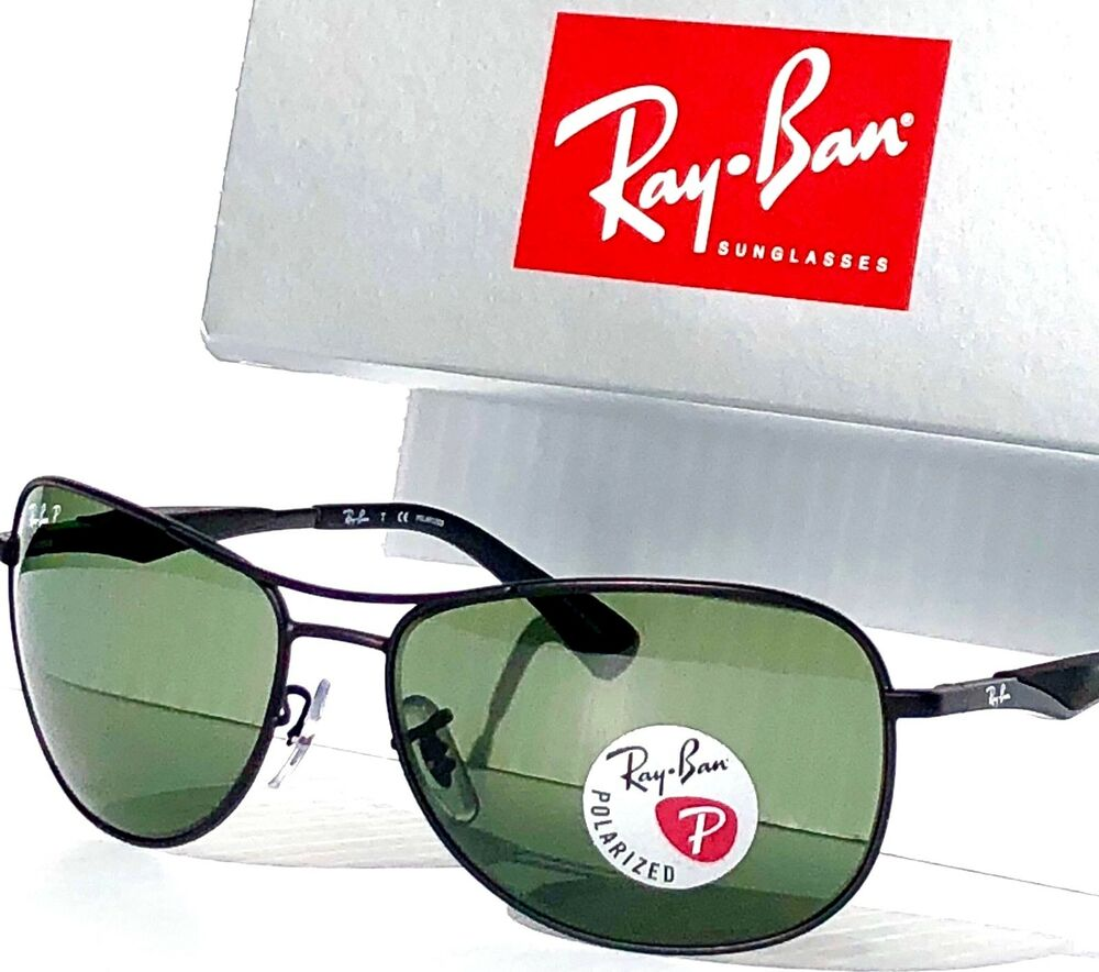 22f0bf76cfc Details about NEW  Ray Ban AVIATOR Black w POLARIZED Green Lens Sunglass RB  3519 006 9a