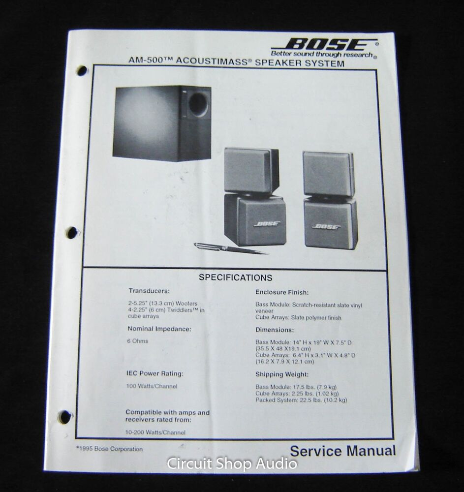 Bose Acoustimass 25 Amplifier Schematics Wiring Diagram Will Be A Avg Color Pioneer 271bt Original Am 500 Speaker System Service Manual Ebay Rh Com Schematic 9 Pin