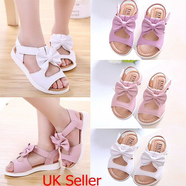 b2615d9a6484b8 Details about Summer Kids Infant Girls Sandals Bowknot Shoes Princess Party  Beach Flat Shoes