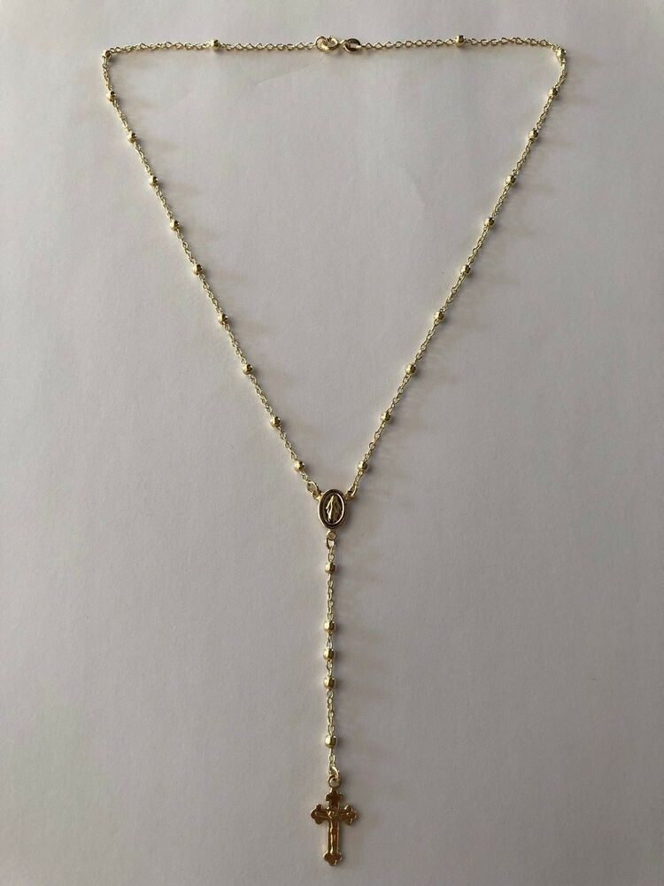 Ladies Rosary Beads Necklace 18 14k Gold Over Solid 925