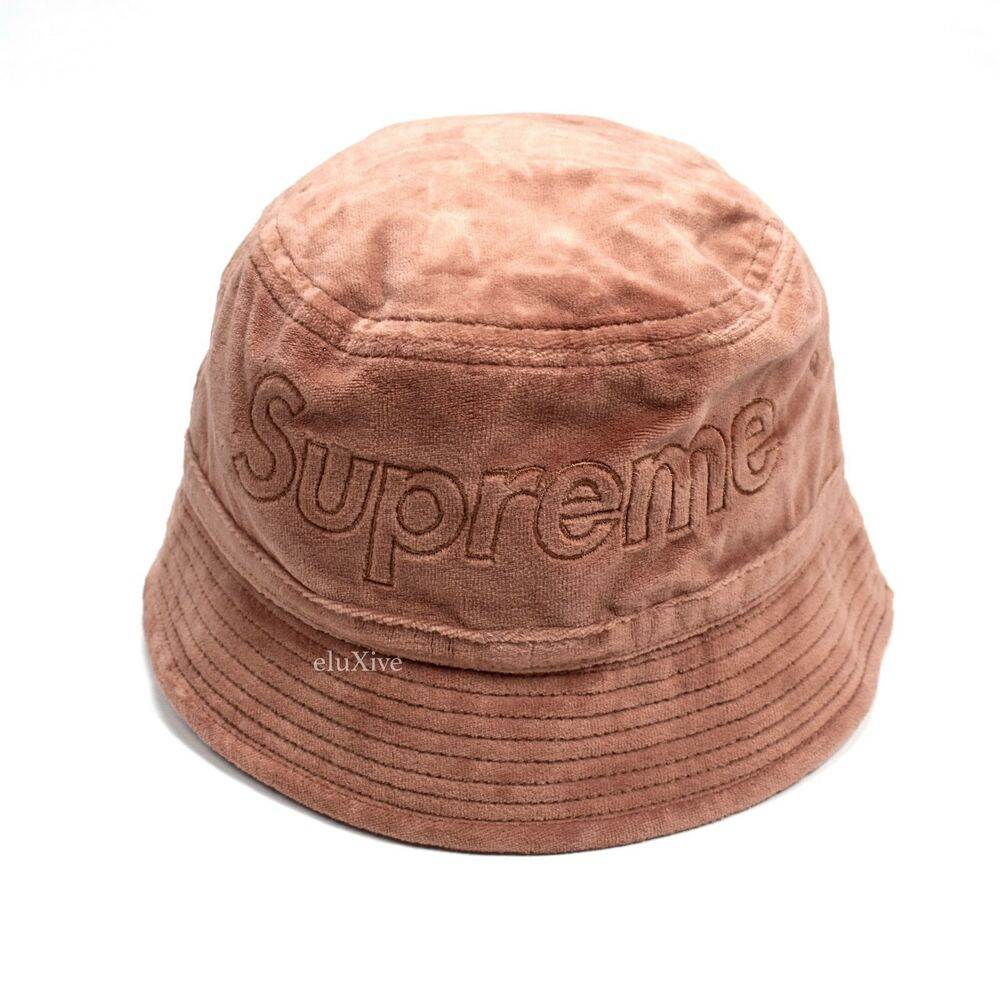 e8e3c55a8e8 Details about NWT Supreme x Lacoste Light Maroon Velour Crusher Box Logo Bucket  Hat AUTHENTIC