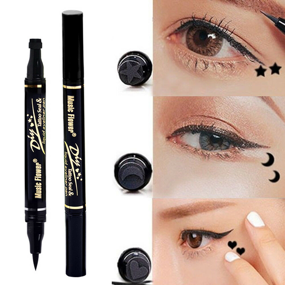 Details About Wome Liquid Eyeliner Pen With Star Heart Moon Tattoo Stamp Pencil Lasting Makeup