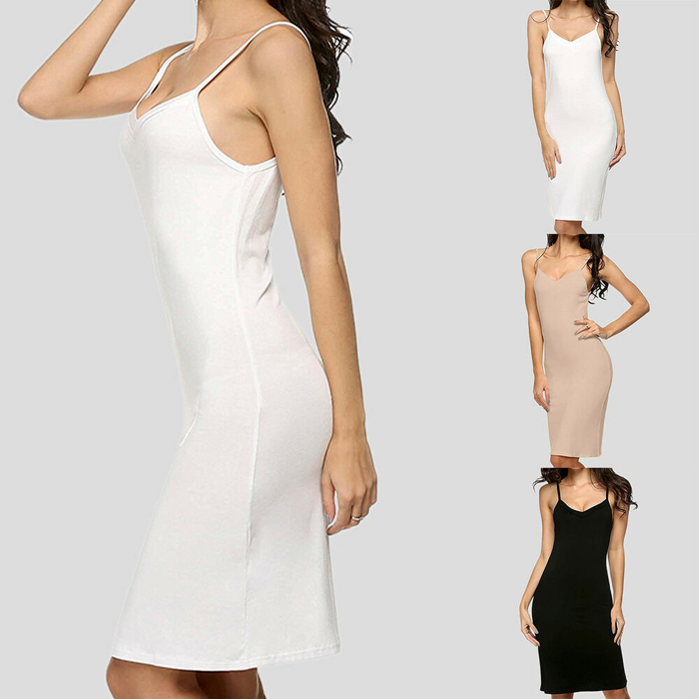 a5267f7d662 Details about Womens Sexy Mini Dress Camisole Spaghetti Strap Long Tank Top  Slip New Casual