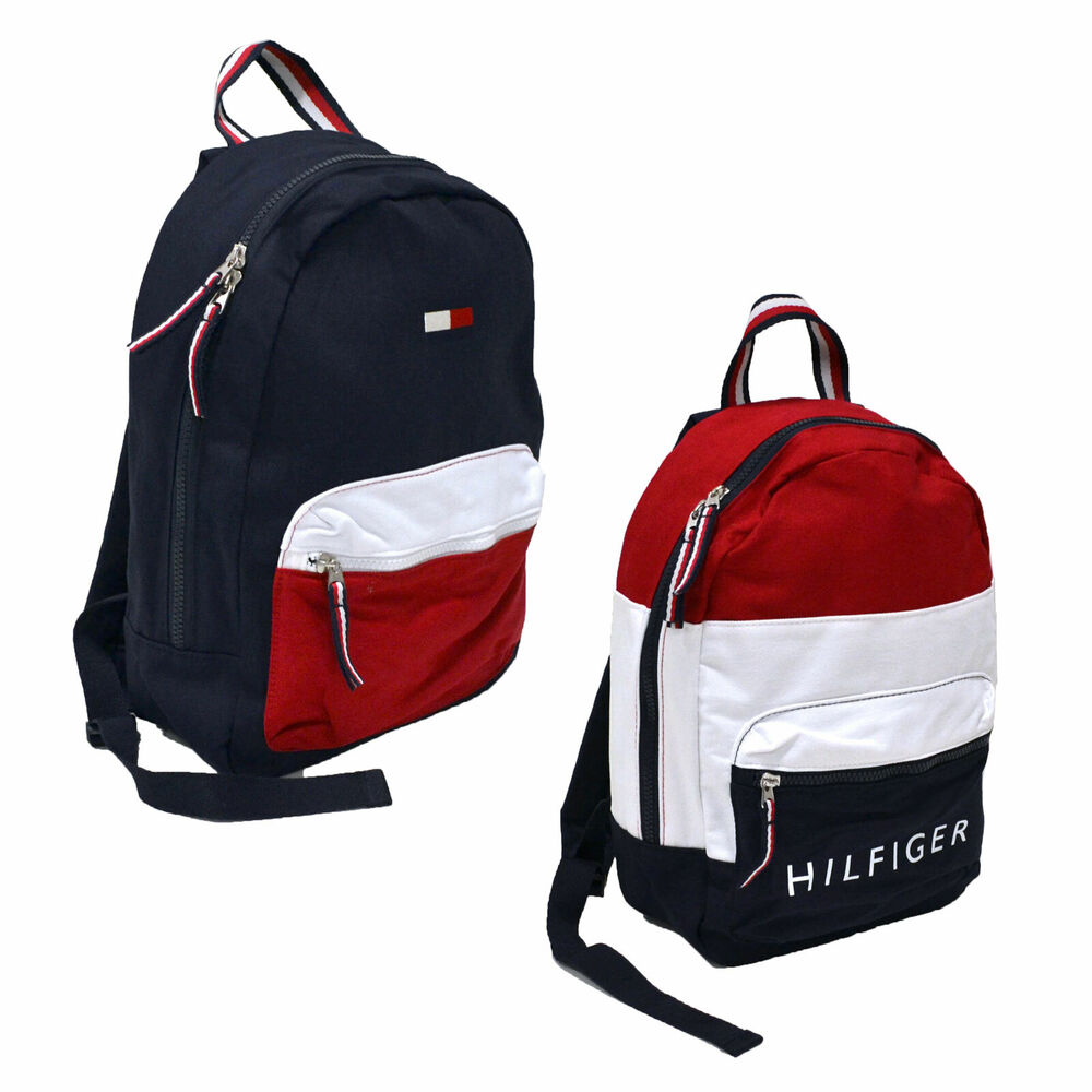Tommy Hilfiger Backpack Canvas Small Book Bag 2 Pocket School Travel  Colorblock  bc66df26ec38e