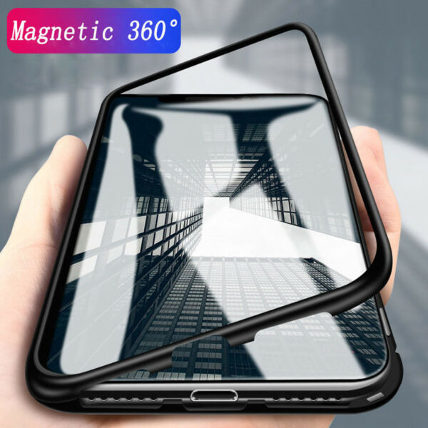 Magnetic Adsorption Tempered Glass back Phone Case Cover Protector for iPhoneX 8