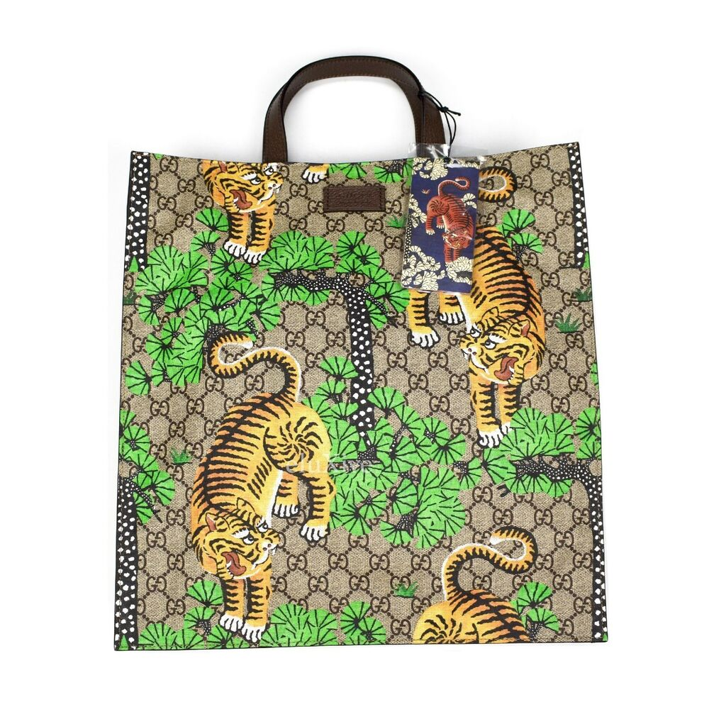 60d4226819e Details about NWT Gucci GG Supreme Logo Bengal Tiger Print Canvas Leather Tote  Bag AUTHENTIC