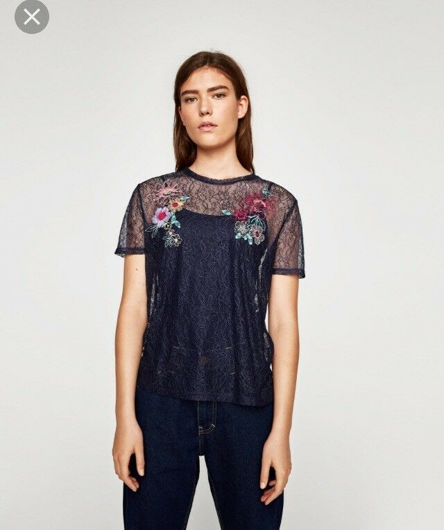 c8f58ea7 Details about NEW Zara Size Small (8) Navy Blue Embroidered Floral Lace Top  Sheer T-Shirt