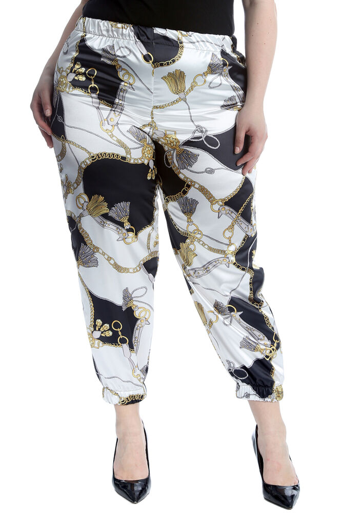 ba9d1e097214a Details about New Womens Plus Size Trousers Ladies Cuffed Bottoms Chains   Tassels  Print Pants