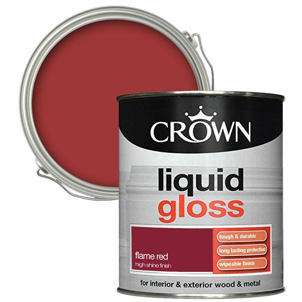 Details About Crown Liquid Durable Gloss Interior Easy To Ly Flame Red Paint 1l