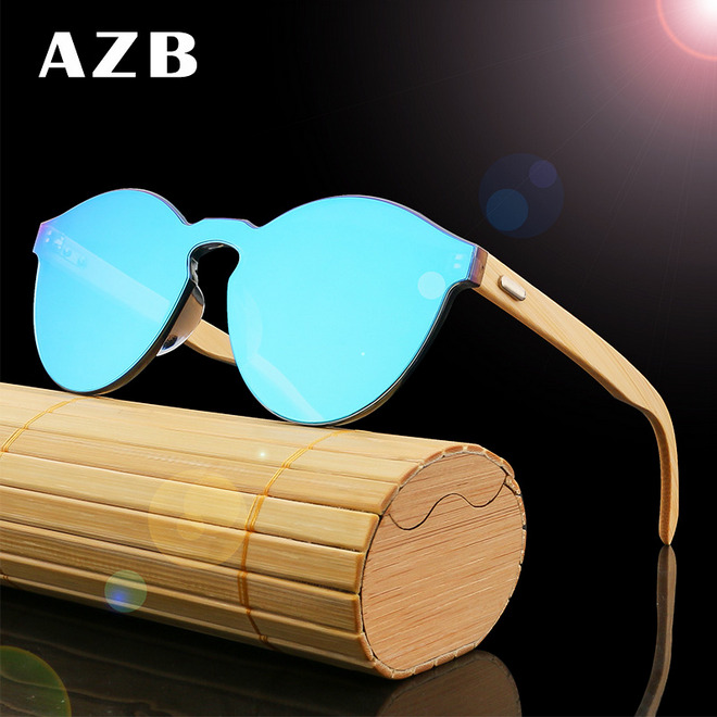 1839157a96b Details about AZB Handmade Unisex Bamboo Wood Sunglasses Wooden Temple  Summer Glasses New