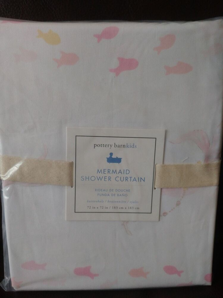 Details About New Pottery Barn Kids Mermaid Shower Curtain Beach Ocean Pink White Fish
