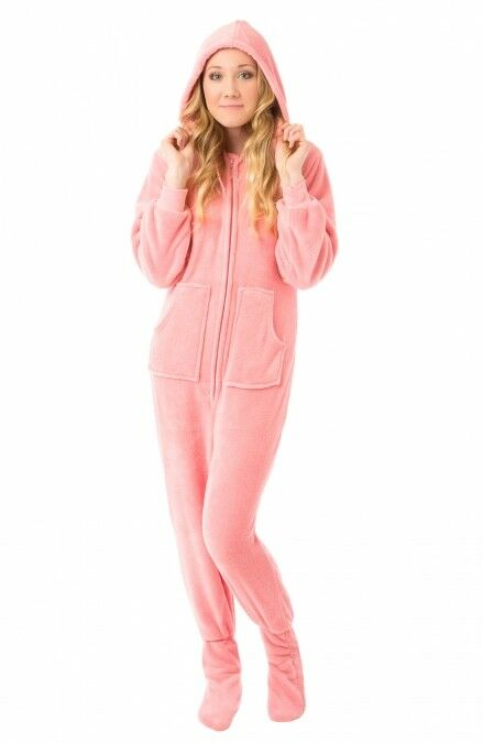 Details about Pink Plush Hooded Adult Footed Pajamas Footie Drop Seat Mens  Womens PJs Soft 82e927950