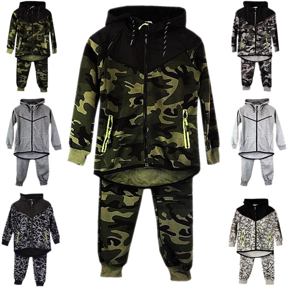 8cc09d234e0 Details about BOYS KIDS TRACKSUIT SET CAMOUFLAGE HOODIE TOP BOTTOMS JOGGING  JOGGERS GYM NEW