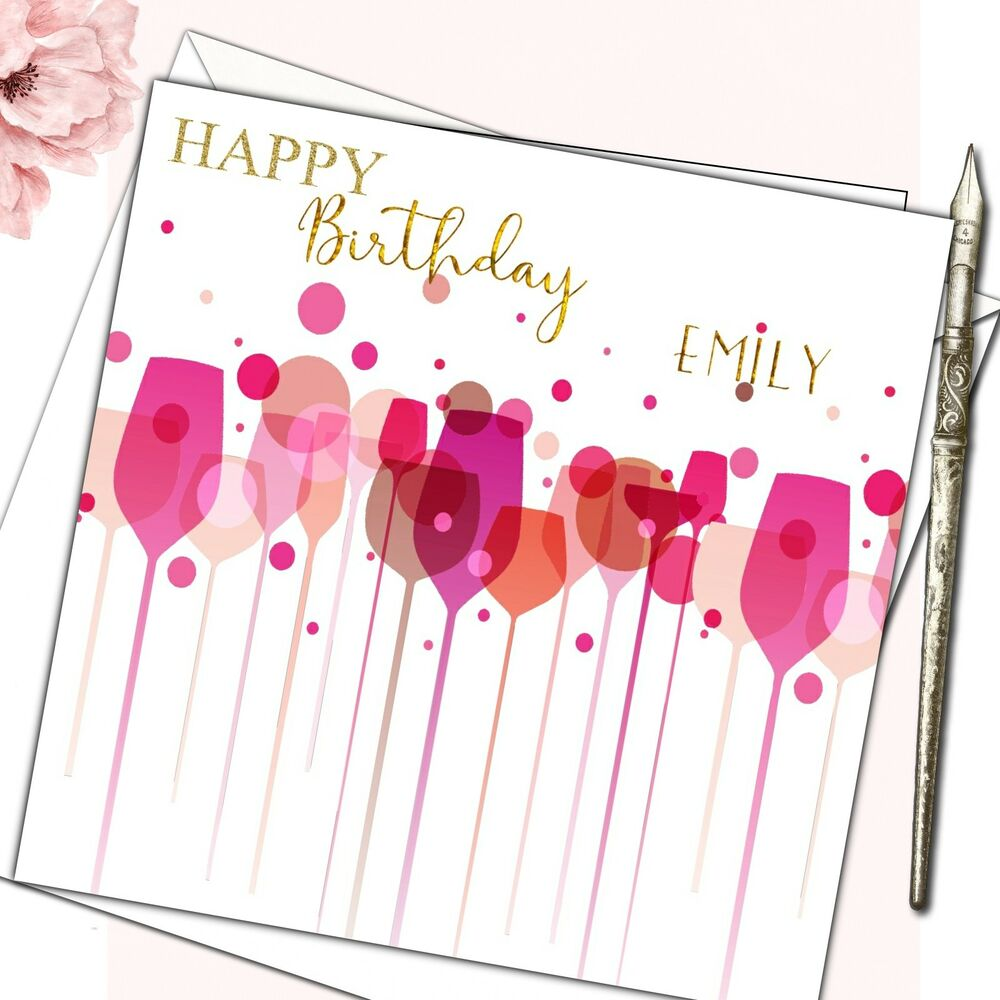 Details About Personalised Birthday Card Female Mother Daughter Sister Friend 30th 40th Wine