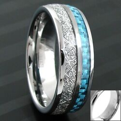 6/8mm Tungsten Meteorite & Carbon Fiber Band Ring-Engraving Avail. Size 5-13
