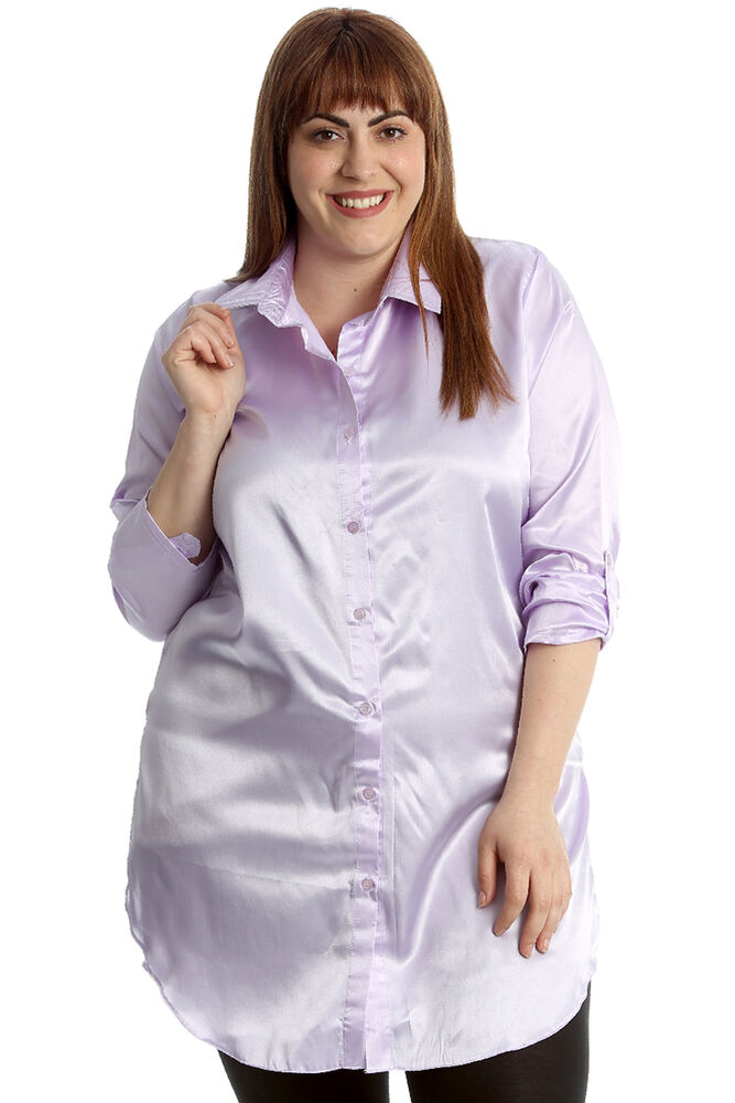 23d080ef42175 Details about New Womens Plus Size Shirt Ladies Faux Satin Plain Top Button  Closure Collared