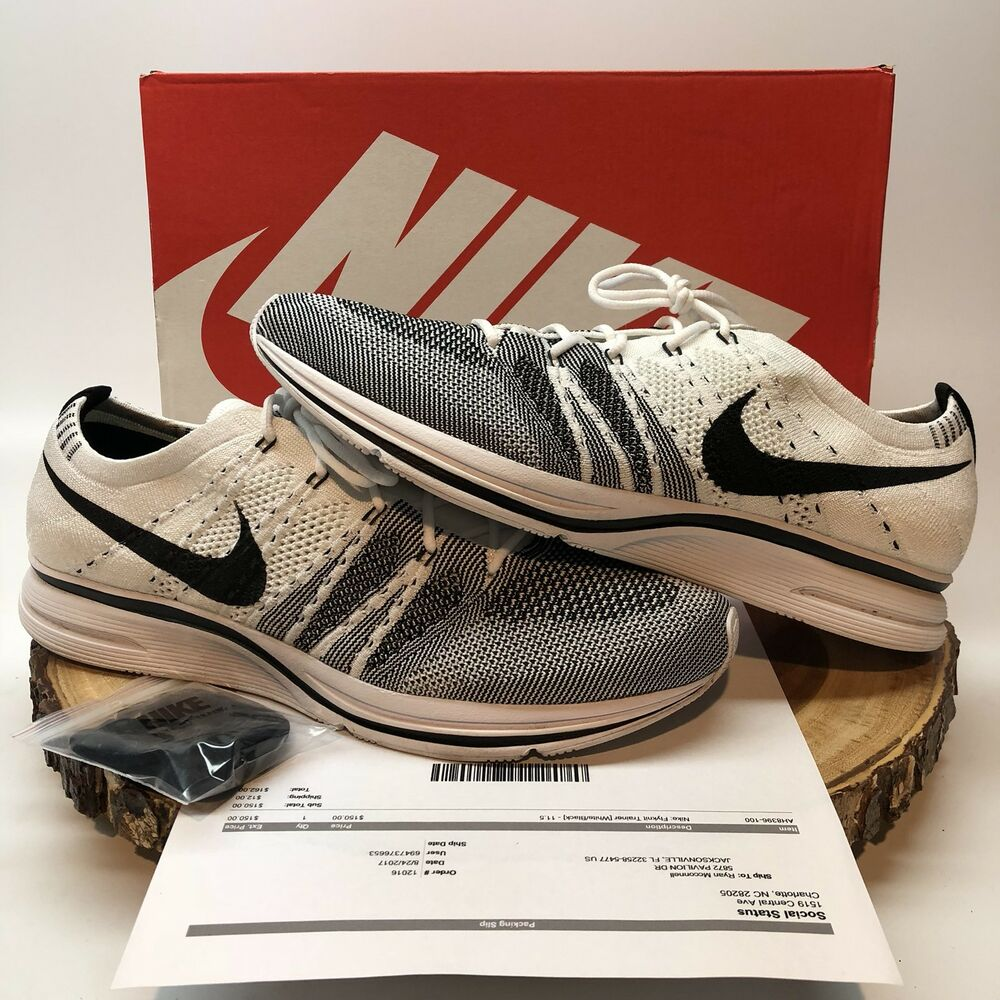 new arrival 9a481 f9c7d Details about Nike Flyknit Trainer White Black AH8396 100 Size 11.5 Yeezy  Yeknit Racer