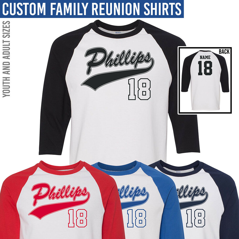 a701d42a Details about Custom Family Reunion Shirts *** Baseball Style T-Shirt ***  Add Your Family Name