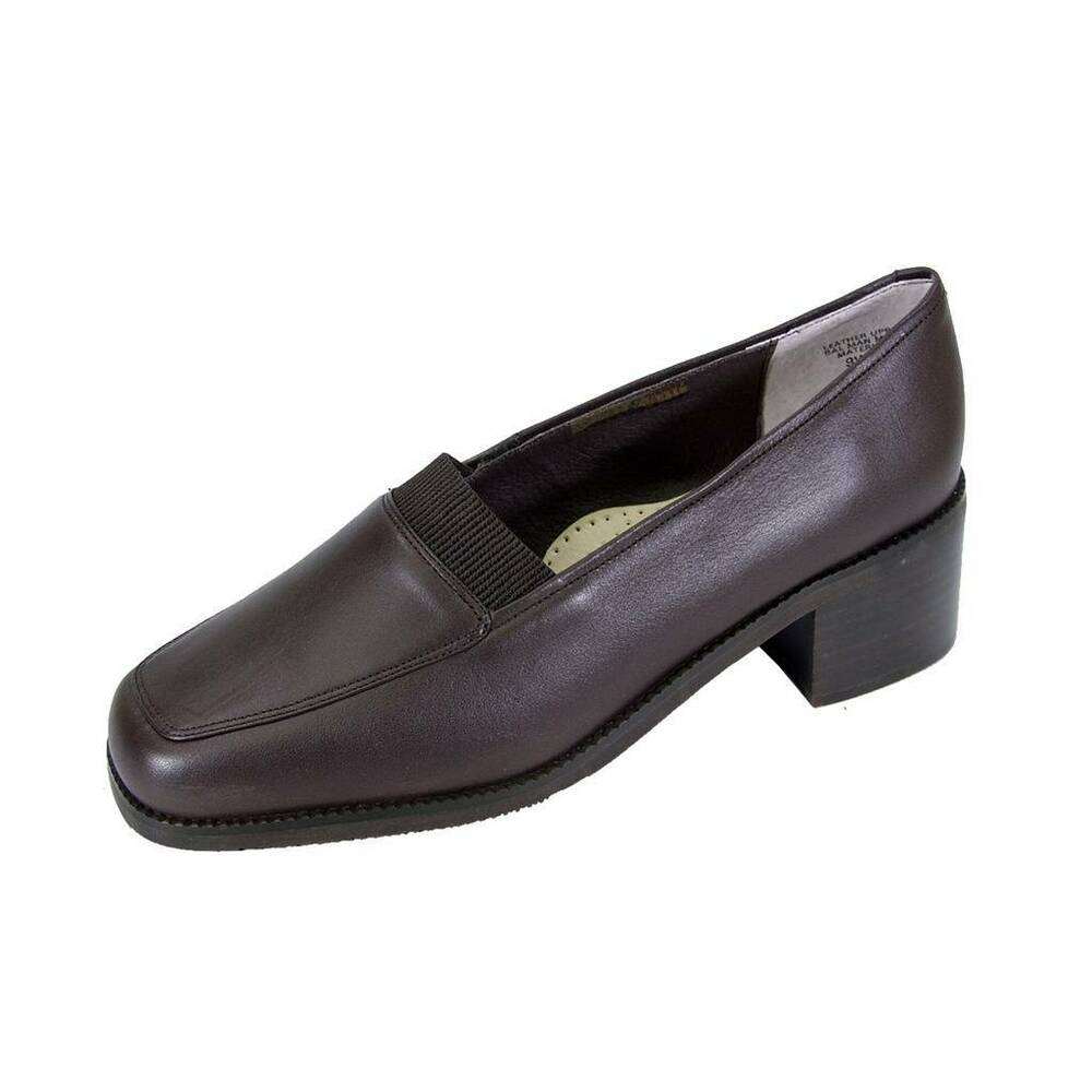 83a55ac4303 Details about PEERAGE Phyllis Women Wide Width Classic Comfort Stack Heeled Leather  Loafers