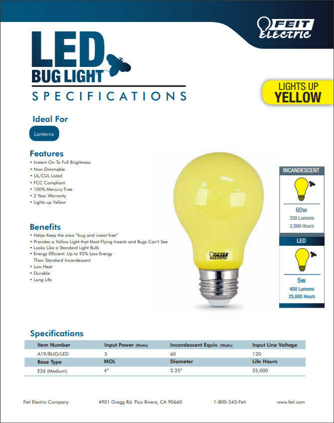 Feit Electric 60W Equivalent  Yellow Colored A19 LED Bug Light Bulb Outdoor  5w 17801138023 | EBay