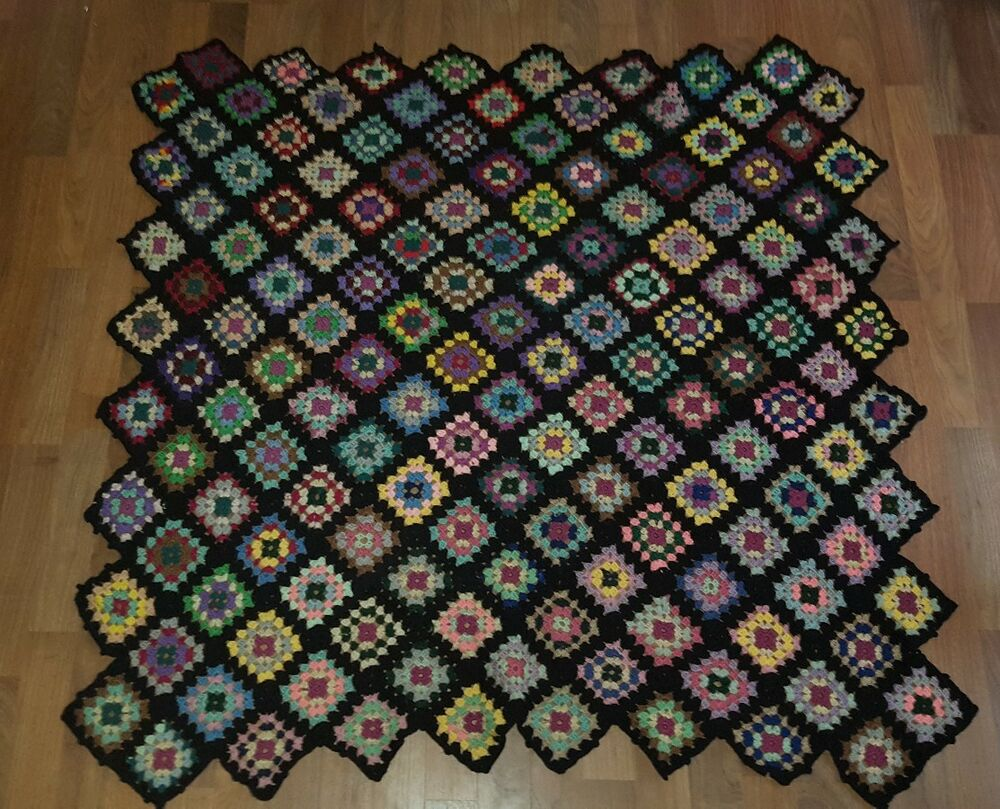 Vintage Black Afghan Granny Square Lap Blanket Throw Big Bang