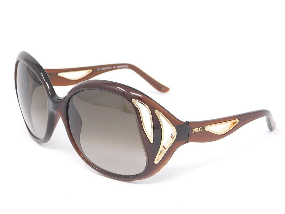 44550513fd Details about Emilio Pucci Sunglasses EP683S 210 Brown   Gold with Gradient  Lenses 58-18-120