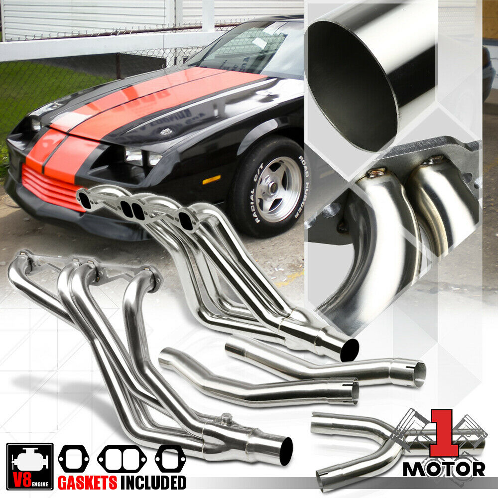 SS Long Tube Exhaust Header Manifold+Y-Pipe For 82-92