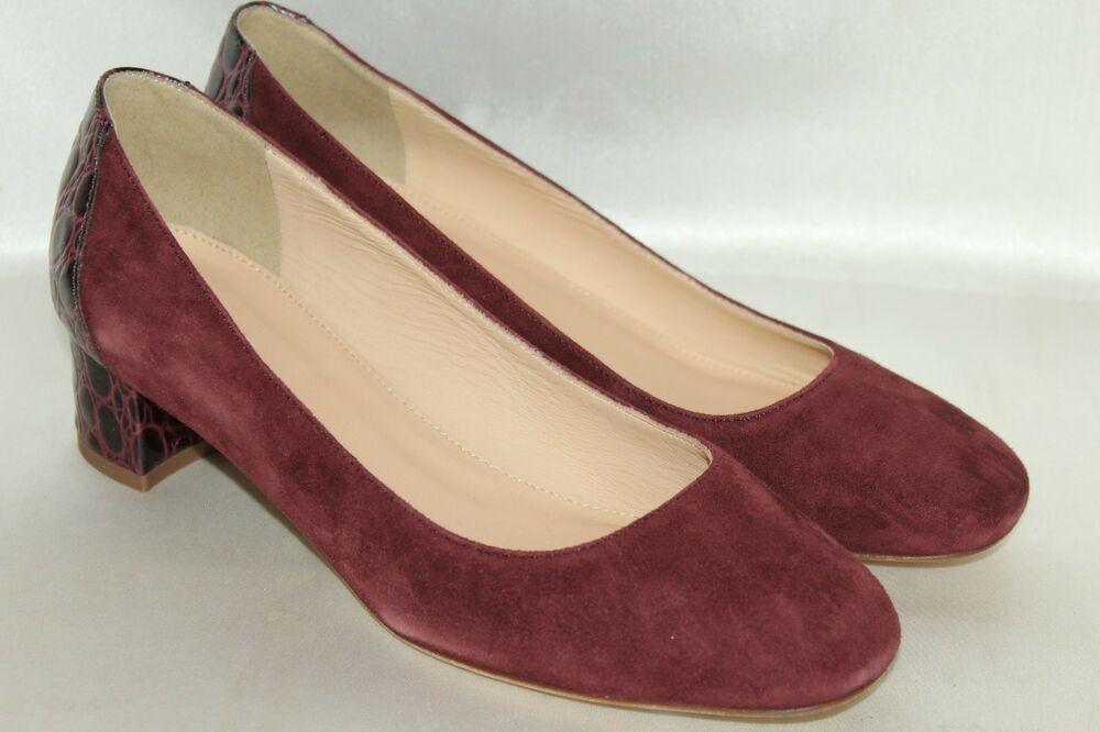 ded4a3e8e9cd NEW! J CREW Wine Suede   Croc Leather Low Heel Classic Pumps Heels 8 ...