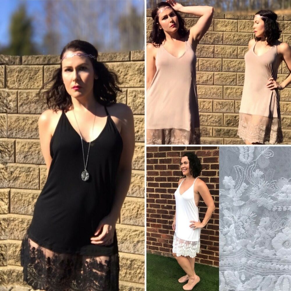 5a7a0a081f15 Details about Lace Dress Extender Slip Dress T Strap V Neck White Black  Taupe Layered Cami