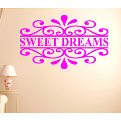 SWEET DREAMS - BEDROOM WALL VINYL DECAL STICKER - COLOR CHOICES - REMOVES