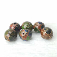 VTG Unusual Brown w/ Mixed Color Flowers Cloisonne Chinese Enamel Round 8mm 6PCs