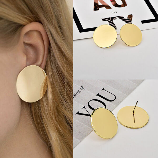 Simple And Generous Women Glossy Round Disc Shape Stud Earrings Jewelry
