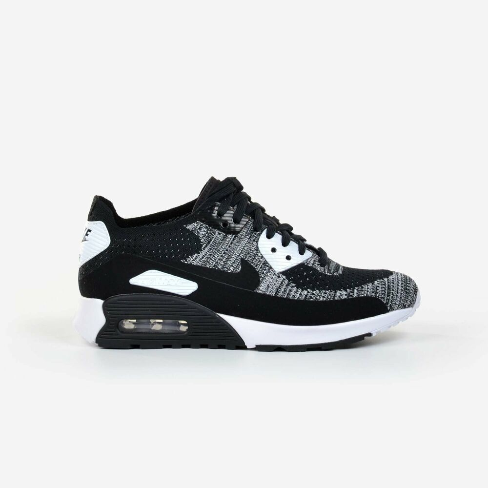 Details about Nike Women s Air Max 90 Ultra 2.0 Flyknit Black White Running Shoes  881109-002 c696601dece5a